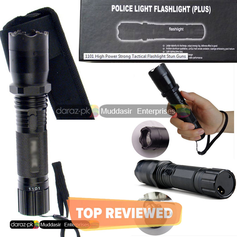 Imported_Polic Torch-Flash Light High Range Torch-Self Protection Electric Shock - Flashlight 1101 with Built-in LED Flashlight