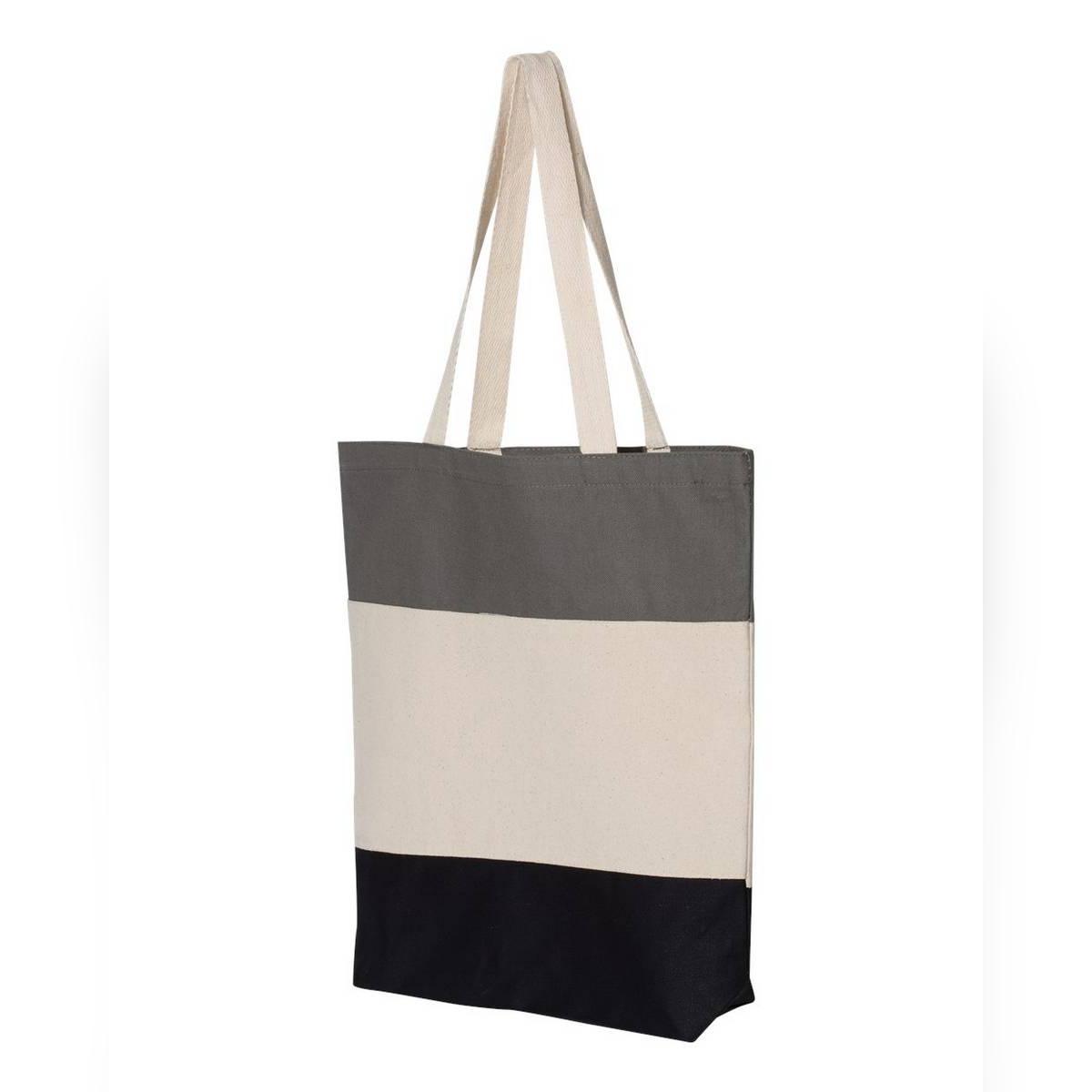 Heavy Canvas Tri-Color Fancy Canvas Tote Bags - Black/Natural/Light Grey