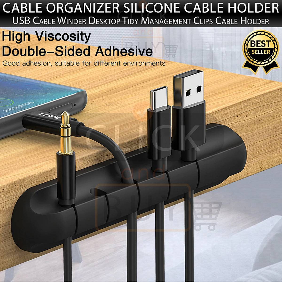TOPK Cable Organizer Silicone USB Cable Winder Desktop Tidy Management Clips Cable Holder for Mouse Headphone Wire