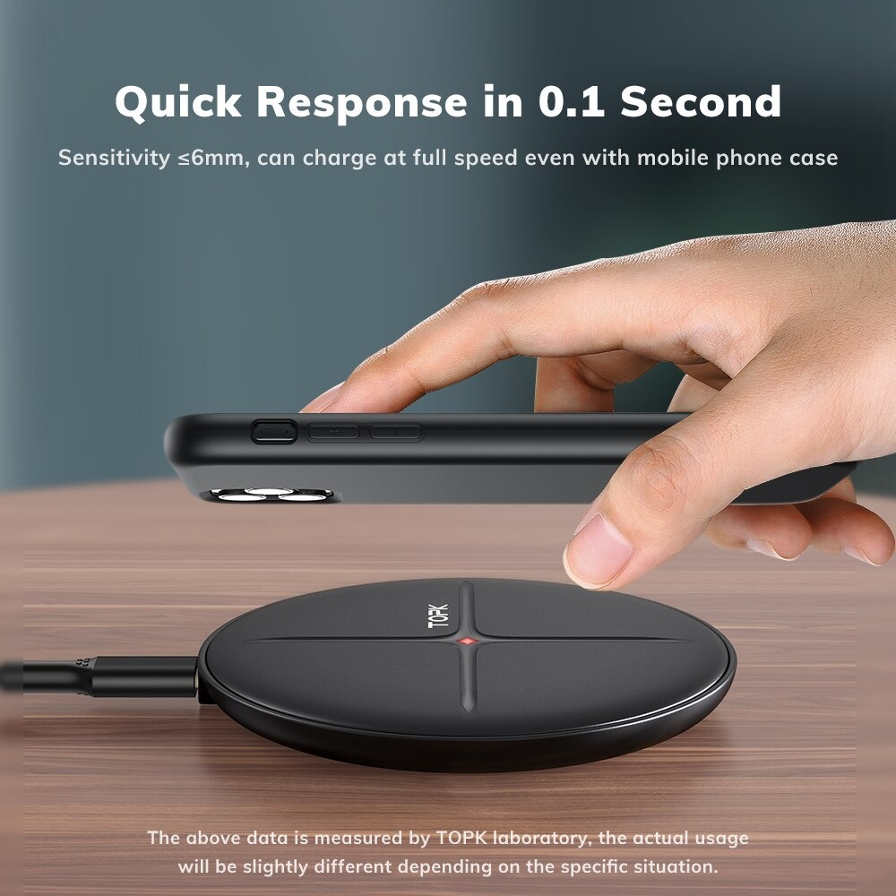 TOPK B09W 10W Fast Wireless Charging Pad for iPhone 12 11 X Xs 8 Wireless Charger for Xiaomi Mi9 Samsung S10 Note 9..
