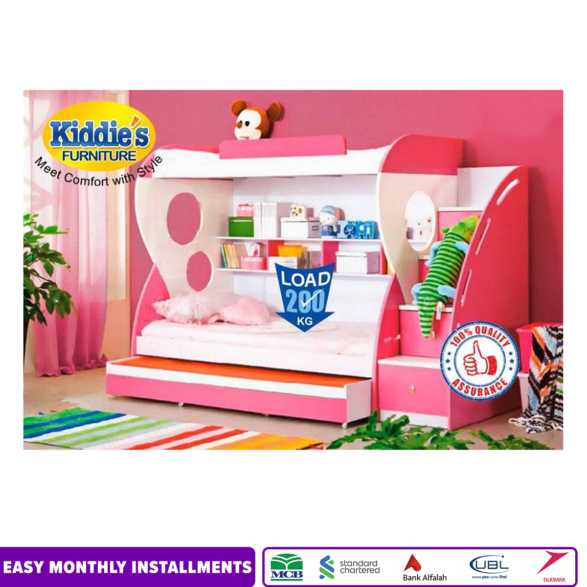 Baby Pink Triple Bunker Bed