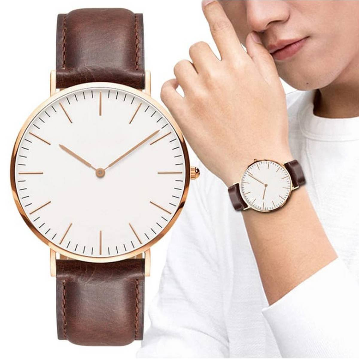 Brown Leather Watch for Men - High quality stainless steel watch for boys - Unisex Fashion Watch