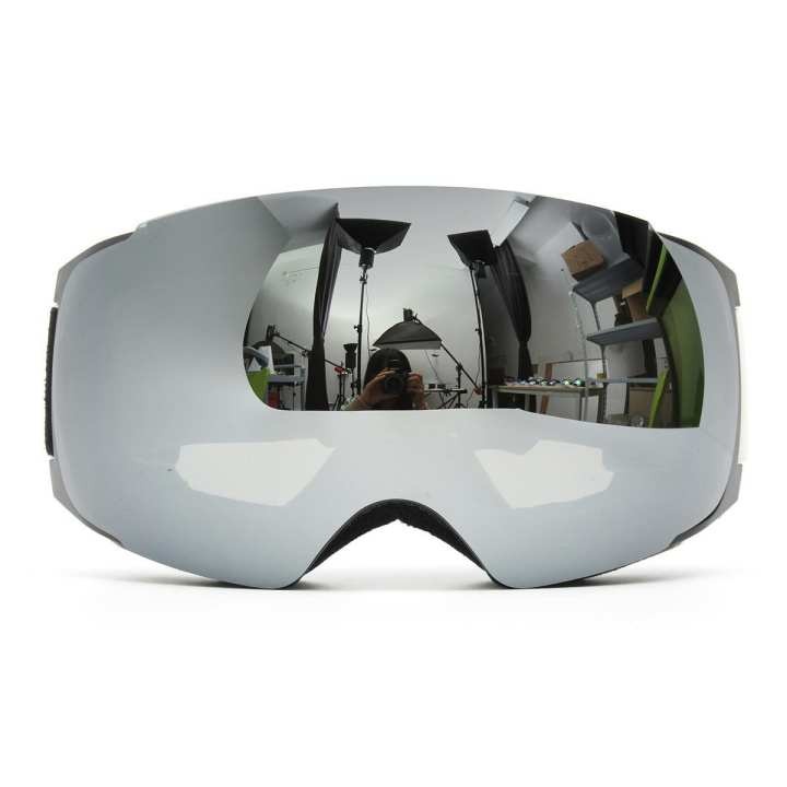 Silver Winter Outdoor Snowboard Ski Goggle Spherical Anti-fog UV400 Dual Lens