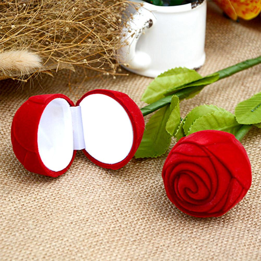 Romantic Red Rose Ring Box, Engagement Wedding Jewelry Gift Box, Valentine's Day Decoration Supplies, 1pc