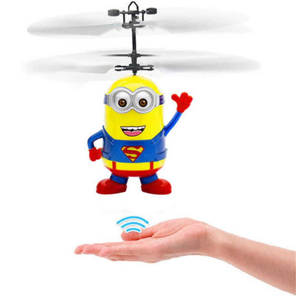 Despicable Me Infrared Induction Aircraft Minion Fly Ball Helicopter LED Light RC