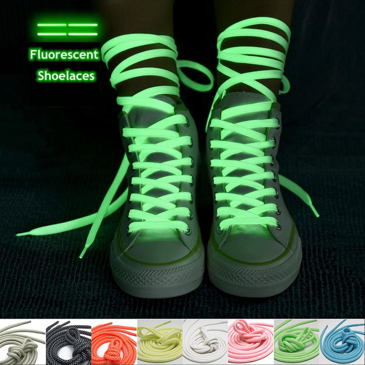 Luminous Glow In The Dark Fluorescent Shoelaces Flat Sports Casual Light Sport Shoes Accessories Shoe Laces Night Round Popular Lace Glowing For Running Basketball Sneakers Roller Skates Athletic