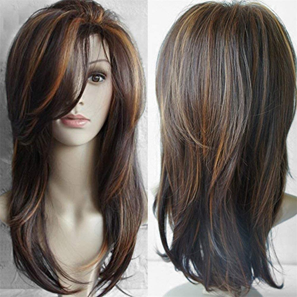 Women Golden Brown Long Curly Wig Synthetic Curly Wavy Hair Heat Resistant Wig