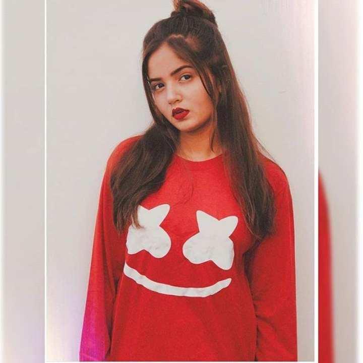 Red Marshmellow Cotton T-shirt For Women's