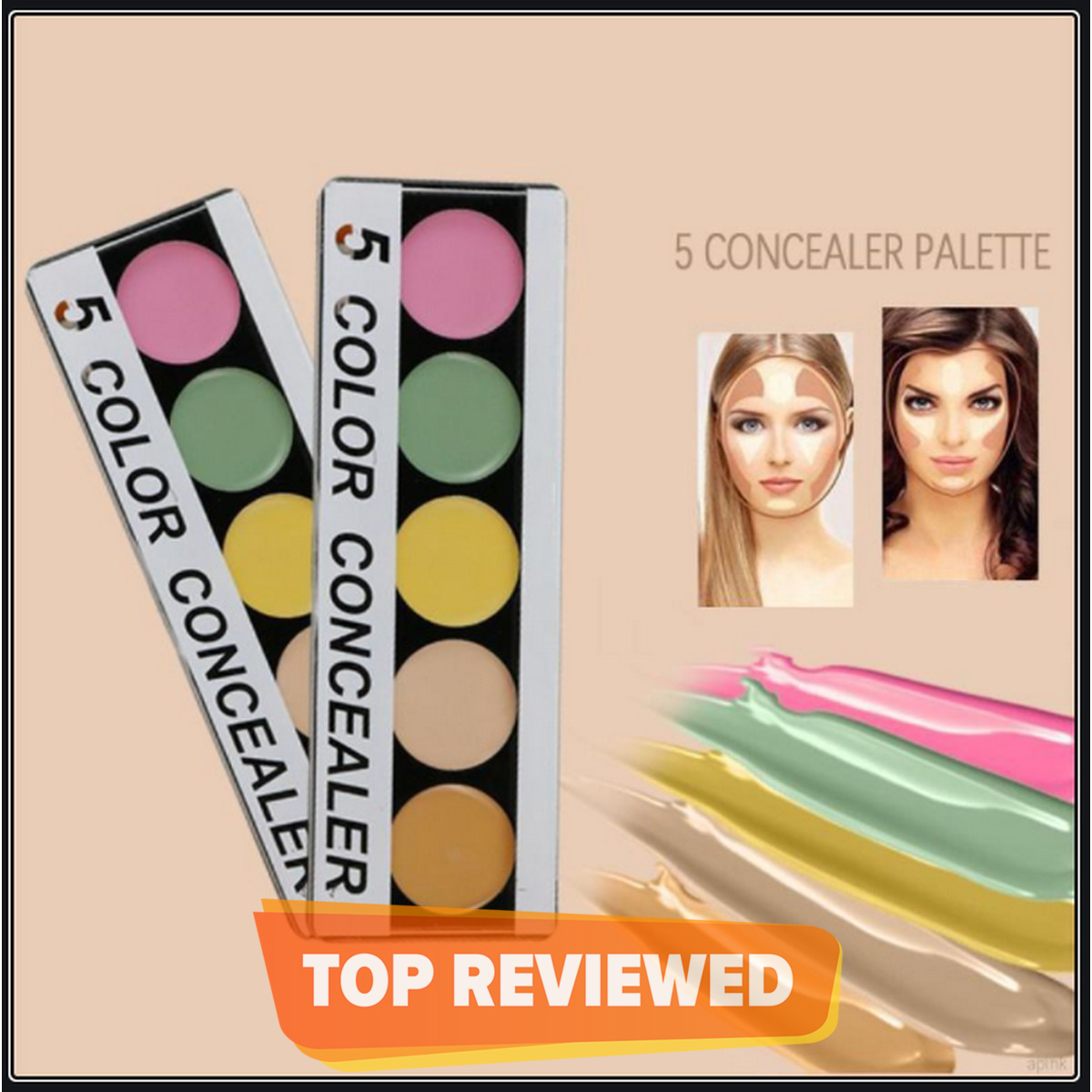 5 Color Beauty Cream Cosmetic Camouflage Concealers Palette Cosmetic Makeup Concealer Cream Christmas Gift- MADE IN USA- concealer and color corrector palette-MADE IN USA