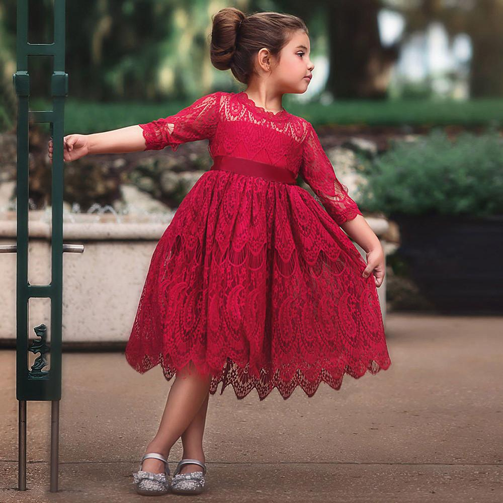 6ee7d2dd5bc Rainbowroom 2019 Toddler Kids Baby Girl Lace Flower Princess Tulle Party  Pageant Dresses Clothes