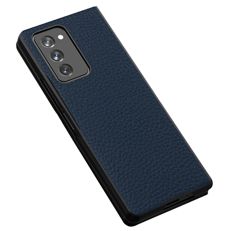 Suitable for Samsung Z Fold 2 Folding 5G Mobile Phone Case for Galaxy Fold2 Litchi Pattern Protective Cover-Blue