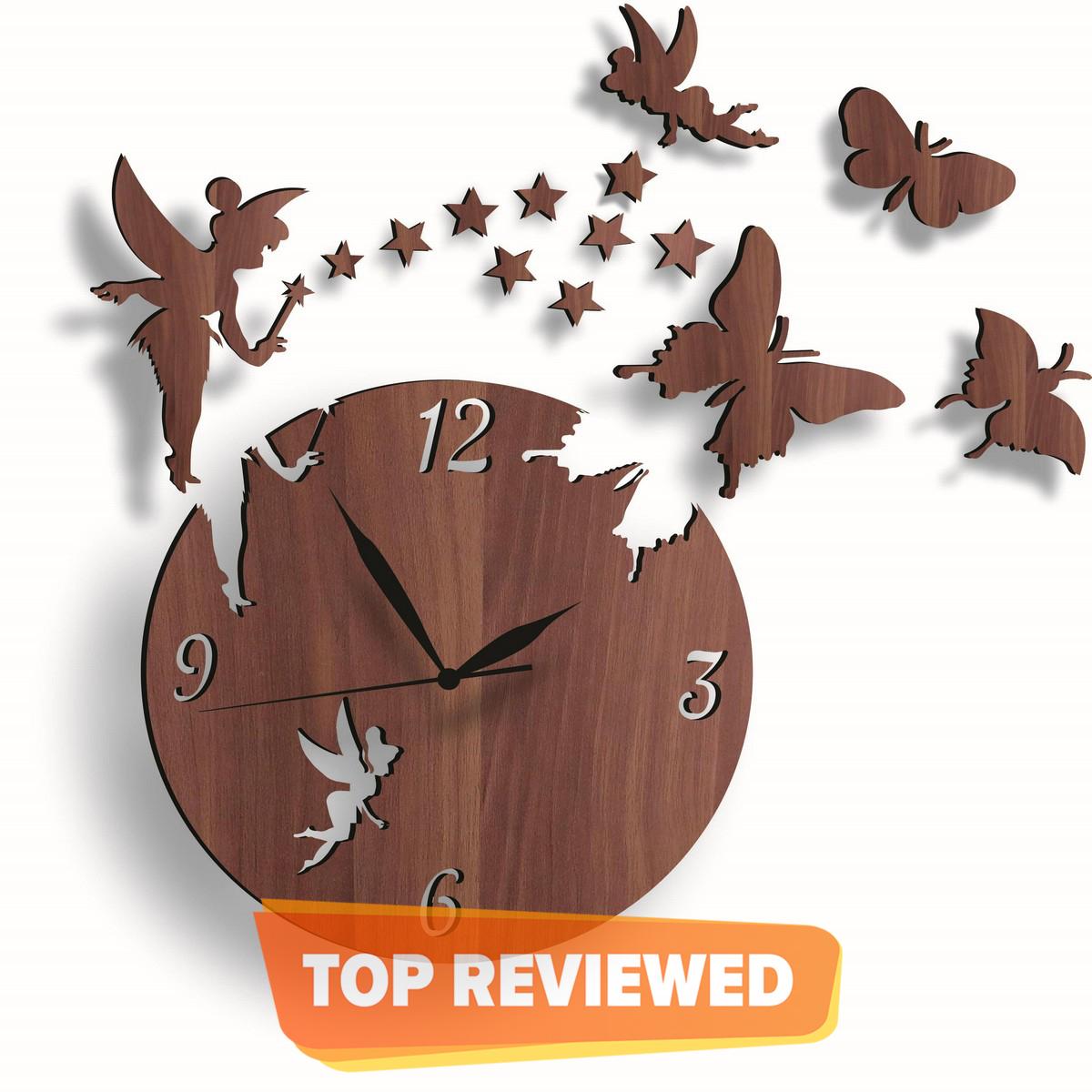 Fairy Wooden Wall Clock, Girls Favorite 3D Laser Cut Wall Clock In Modern Fairy With Stars & Butterflies