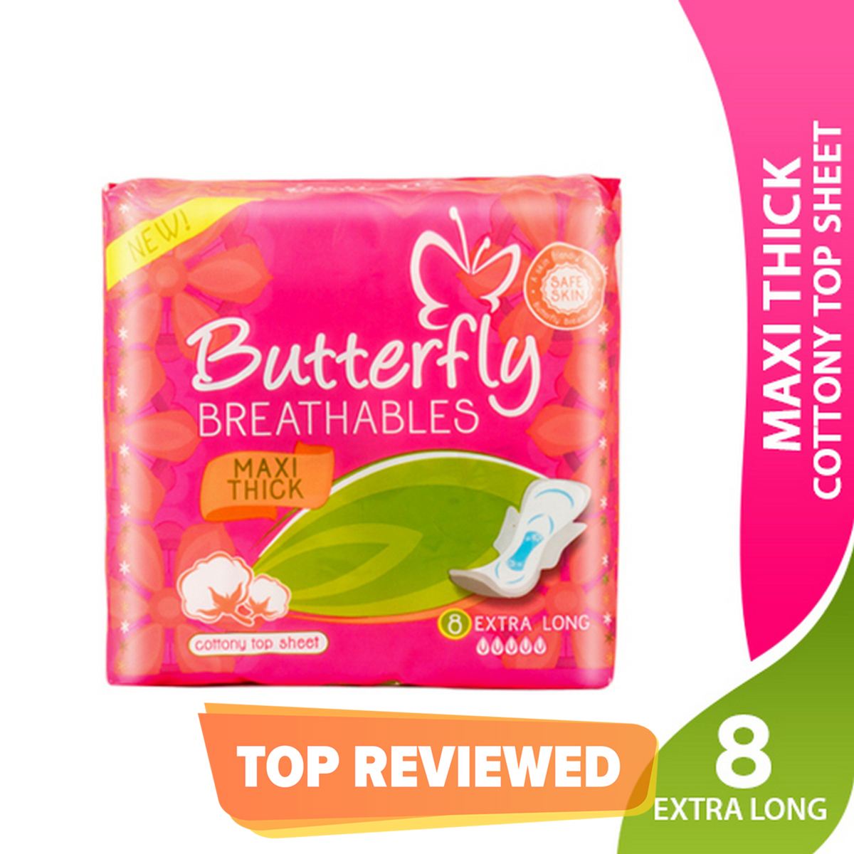 Butterfly Breathables Maxi Thick Cottony Soft Sanitary Pad- Extra Long, Single Pack
