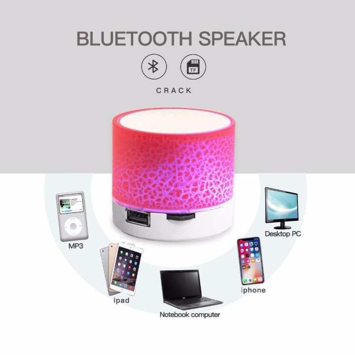 A9 Bluetooth Speaker Mini Wireless Loudspeaker Crack LED TF USB Subwoofer bluetooth Speakers mp3 stereo audio music player (Random Colours)