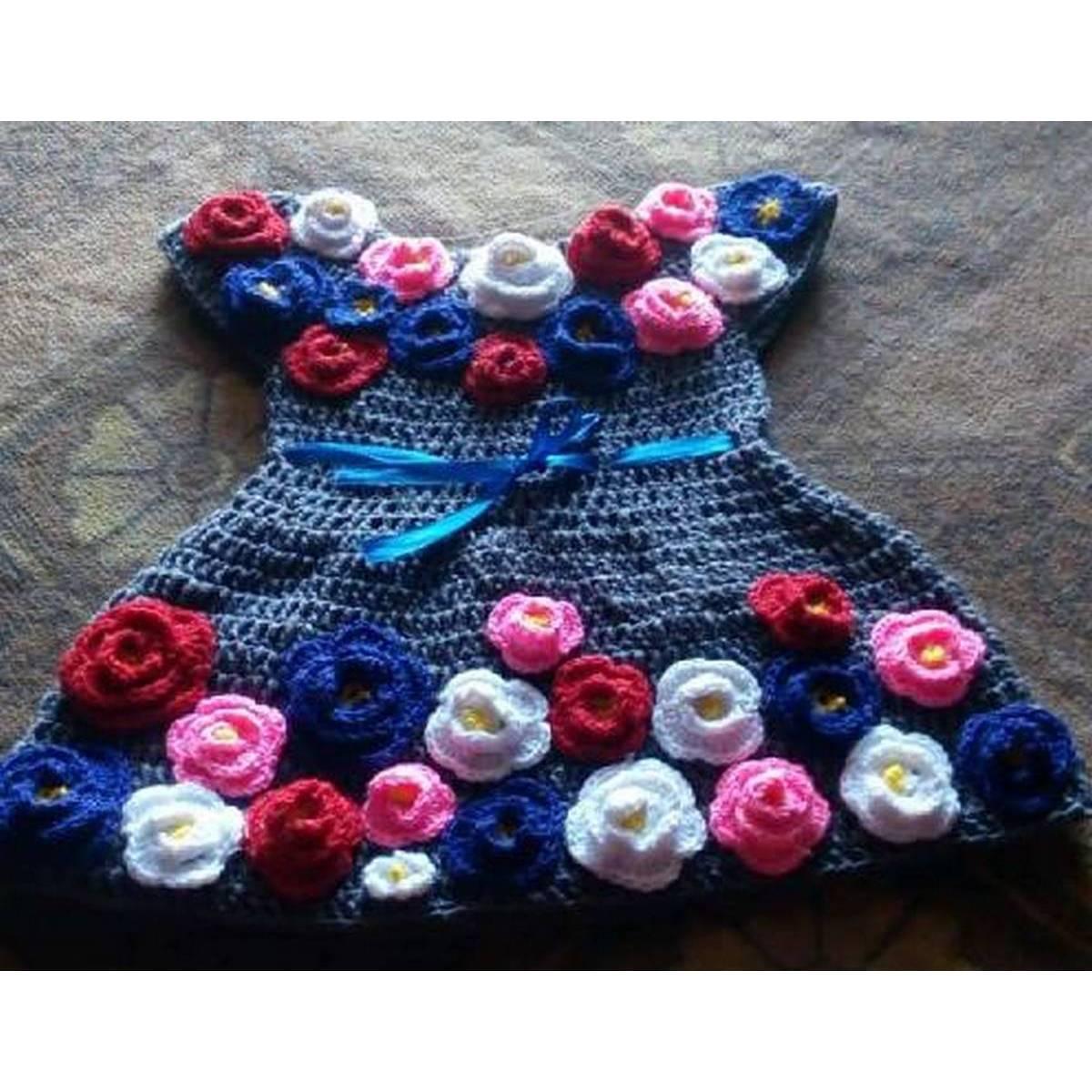 Woolen Baby Frock, Crochet Frock Full Set