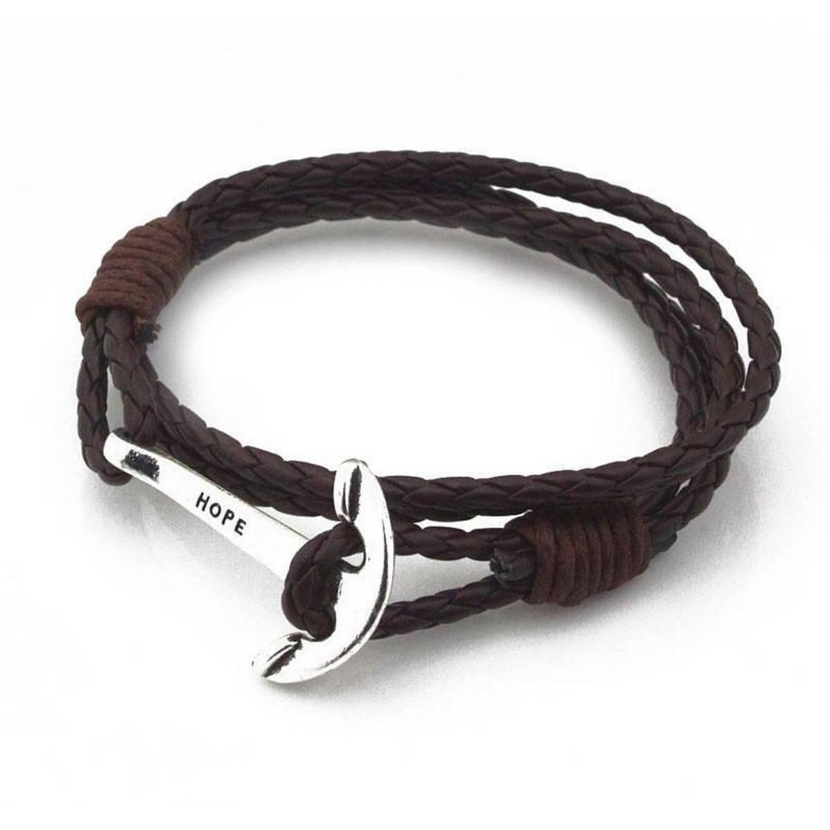 40cm PU Leather Men Bracelet Jewelry Man Anchor Bracelet Wristband Charm Braclet For Male Accessories