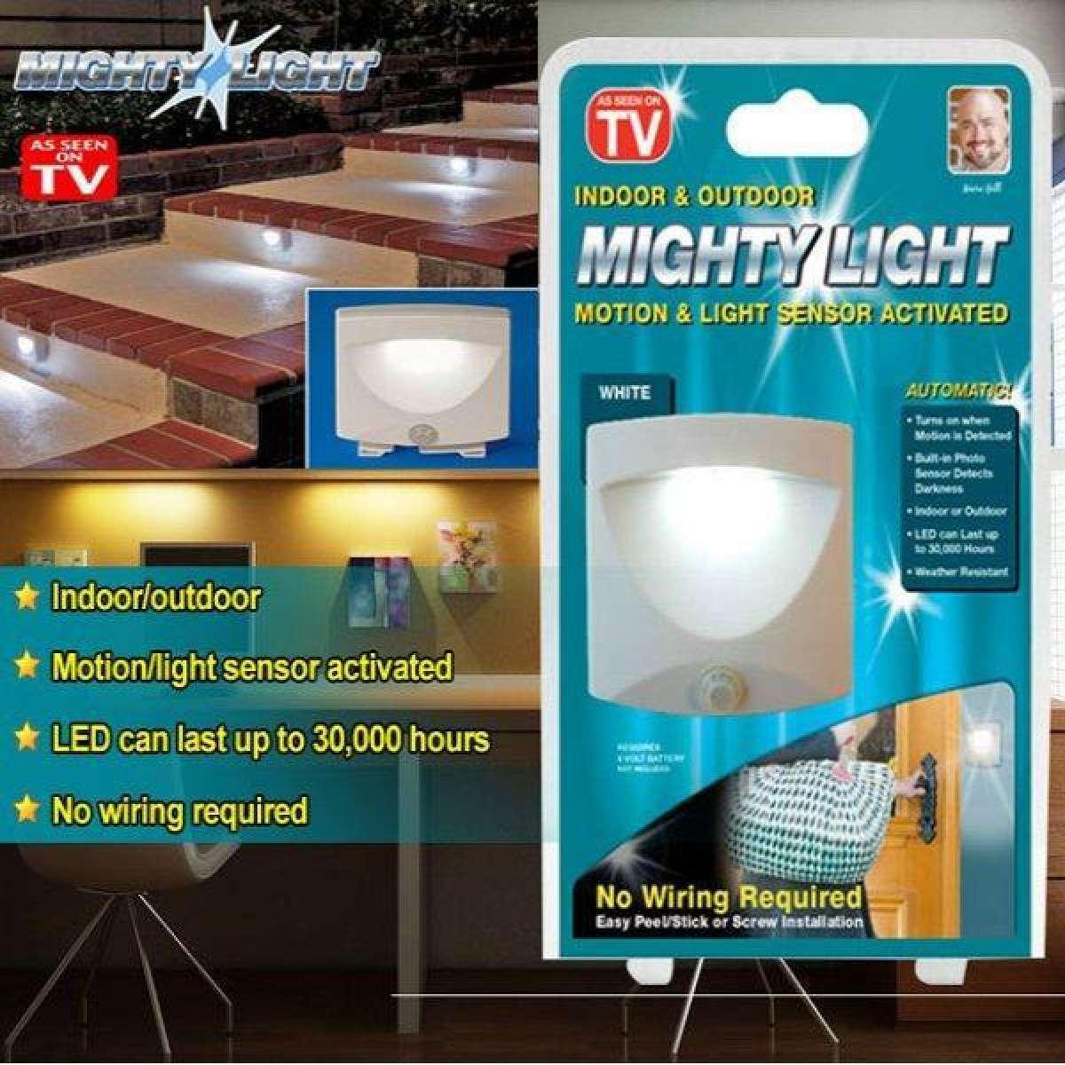 MIGHTY LIGHT INDOOR & OUTDOOR MOTION & SENSOR ACTIVATED
