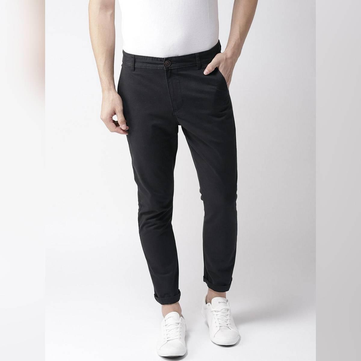 Slimfit Black Stretchable Cotton  Chinos