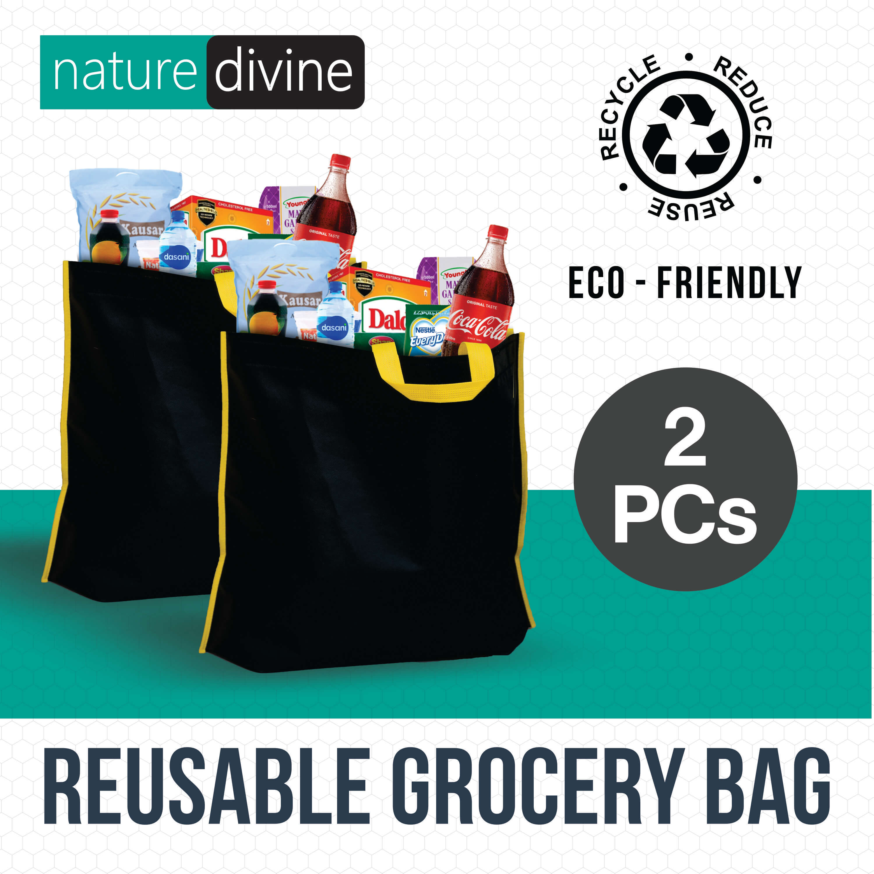 Pack of 2 Reusable Grocery Shopping Tote Bags, Black Non Woven, ECO Bags, Green Bags