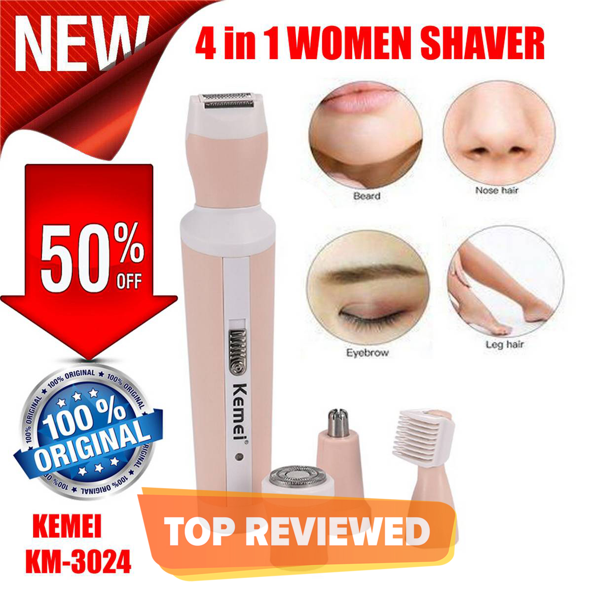 NEW KEMEI km-3024 Rechargeable Women Skin Shaver suit Nose Eyebrow Trimmer Body Easily Hair 4 in 1 Electric Hair Removal Shaving machine Grooming Kit Original Imported Best Genuine KM 3024