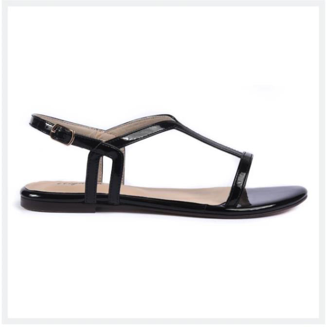 AVELINE Women's Flat Sandals Black Elegancia