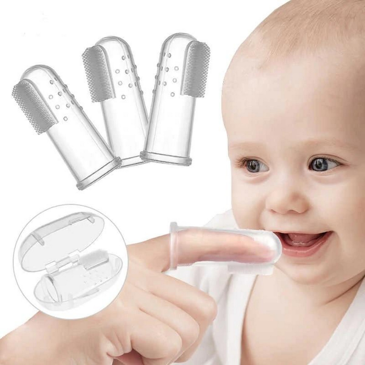 Baby Tongue Teeth Cleaning Hygienic & Flexible New Born Baby Soft Silicon Tounge Teeth Cleaner Finger Toothbrush