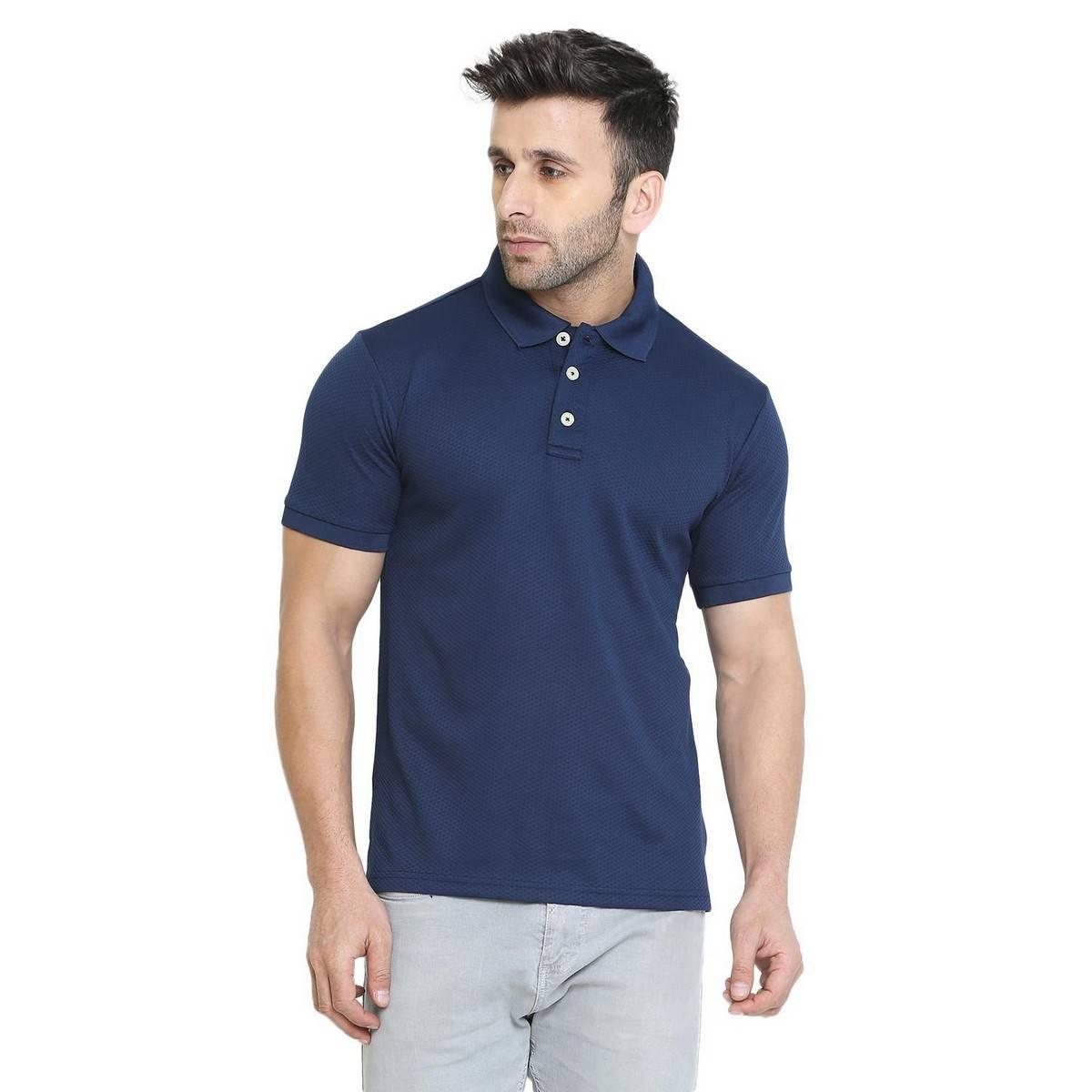Paradise Zone Half Sleeves Plain Polo Navy Blue Tshirt For Men