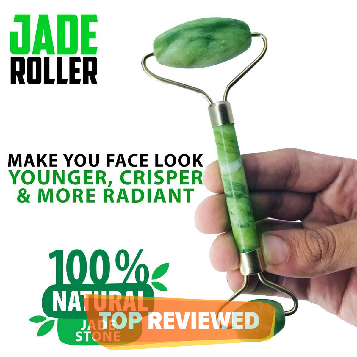 Jade Roller Natural Stone Double Head Stone For Face Massage Skin Beauty Facial Care Tool