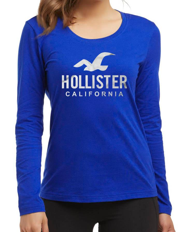 bc73750c2cffcf Hollister Summer New Fashion Royal Blue Quality Best Printed Full Sleeve T- shirt for Women