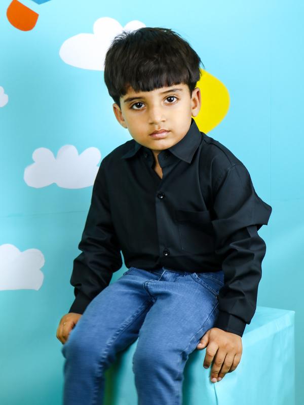 Cut Price Dress Shirt Formal for Boys Plain Black
