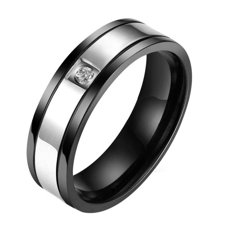 Vktech  Casual Simple Men Rhinestone Titanium Steel Ring Finger Rings Jewelry Decor