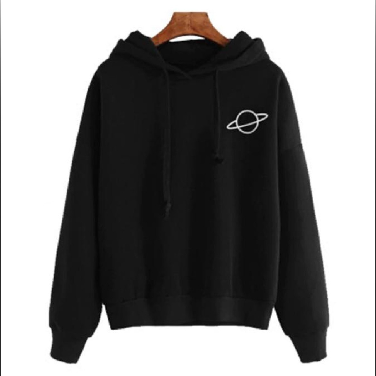 Jack Beos Women Hoodies Casual Kpop Planet Print Solid Loose Drawstring Sweatshirt Long Sleeve Hooded Autumn Female Pullover