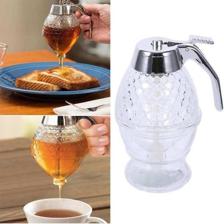 200ML Transparent Glass Honey Juice Syrup Dispenser Pot Jar For Kitchen Bee Drip Storage