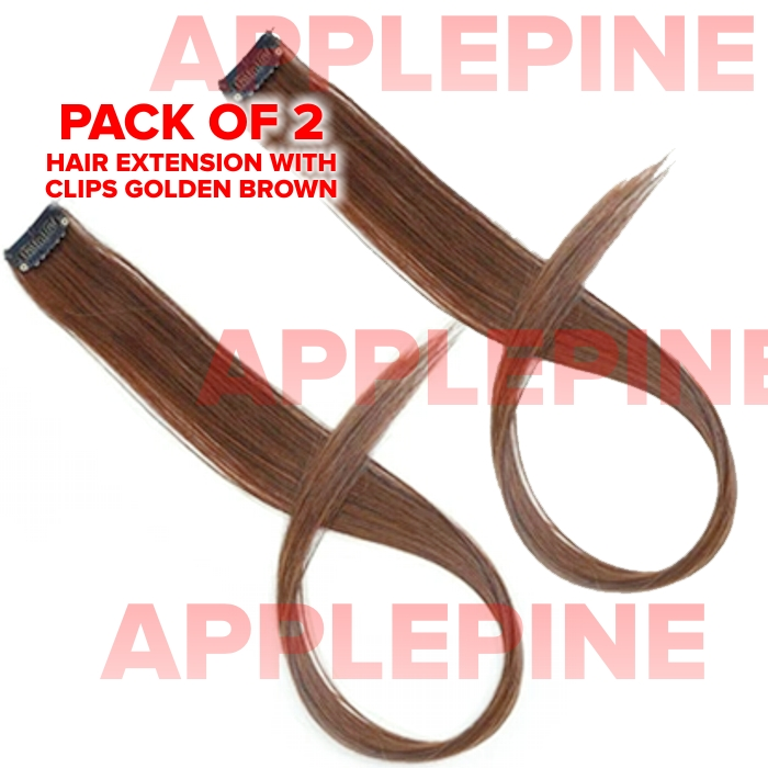 20 inch Long Straight Synthetic Clip-In Hair Extensions - Golden Brown