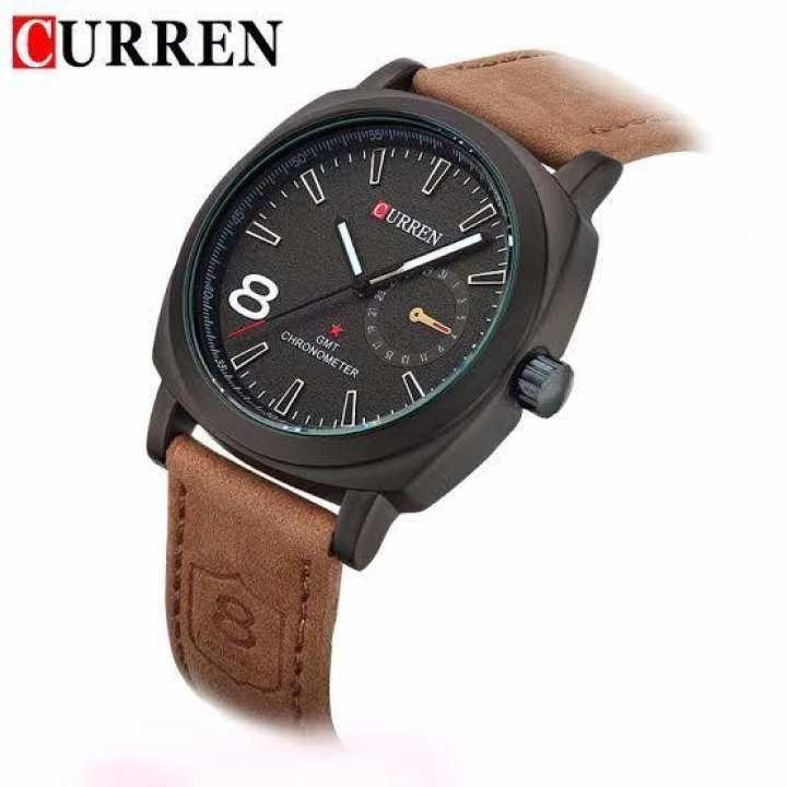 Brown Leather Mens Designer Analog Watch