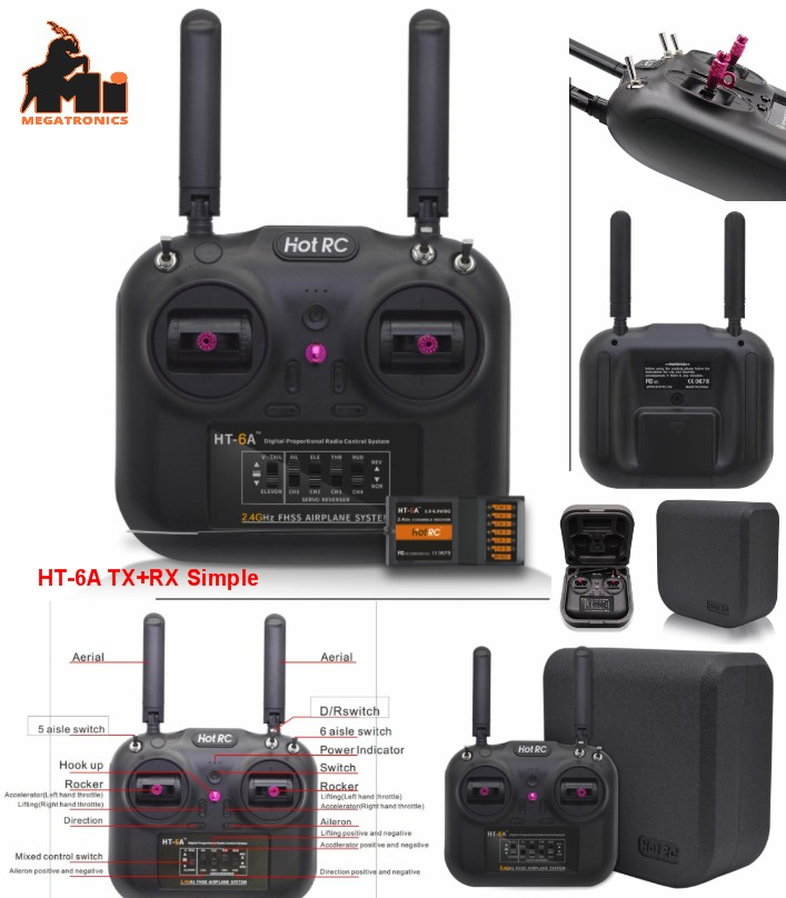 HOTRC HT-6A 2.4G 6CH RC FPV Transmitter FHSS & 6CH Receiver With Box for FPV Drone RC Airplane RC Car RC Boat