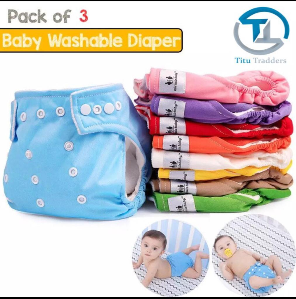 Pack Of 3 0-3 Years Old Baby Reusable Adjustable Washable Cloth Diapers