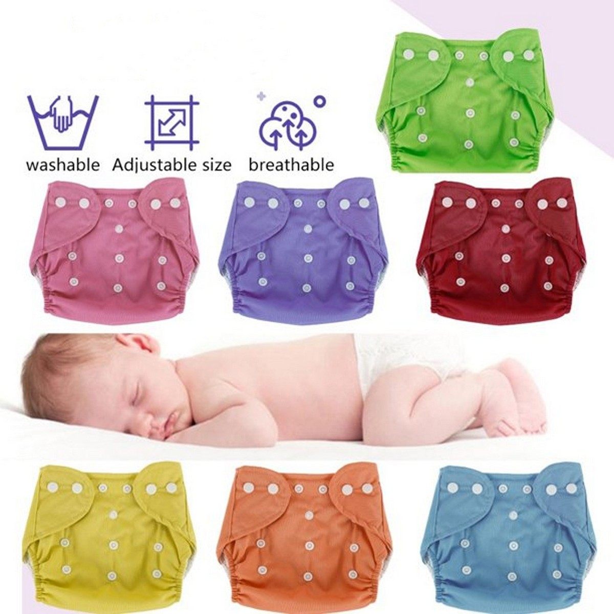 CHIEEA Reusable ADjustable 0 To 24 Months Old Baby Washable Diapers With Absorbent Insert