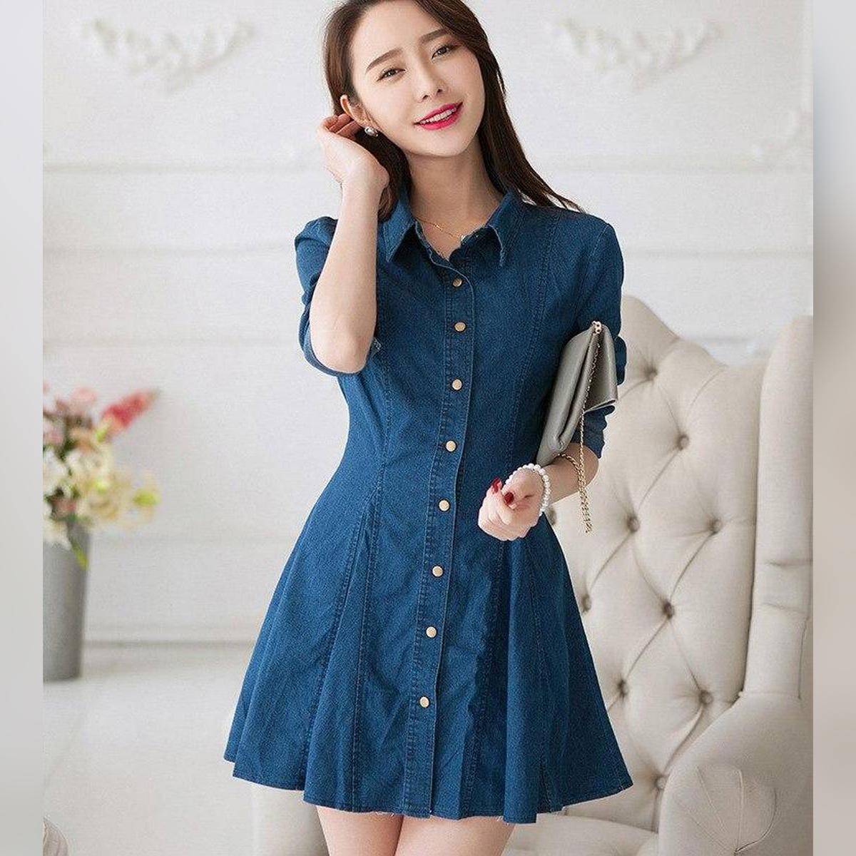 High quality Denim Shirt Dress - Turn-down Collar Girls Denim Dress Full Sleeved Long Sleeve Denim Dress - Denim Shirt For Women - New Style Denim Shirt