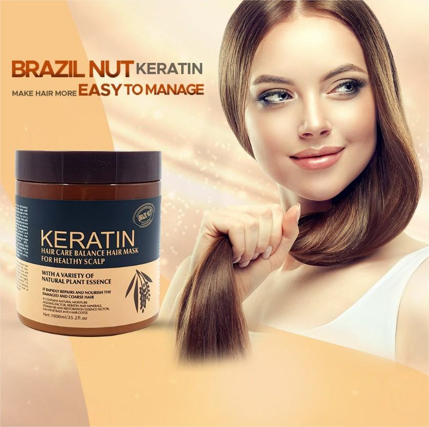 Keratin Hair Treatment Mask Keratin  Hair Mask Brazil Nut Keratin Hair Straightning Cream Keratin Hair Care Mask For Healthy Scalp for Men/ women 1000ml ( Original )