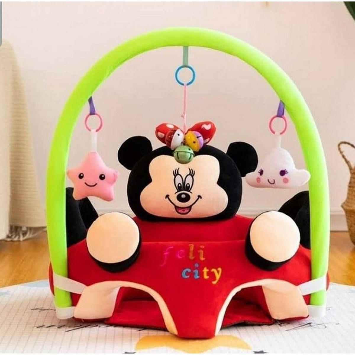 Baby Stuffed Gym Floor Playing Seat Sofa Infant Support Seat with Handle Toys Easy Carry Learning Sitting for Pillow Chair Cushion Bouncer Floor Seat Feeding Plush Floor Cute Animal Seats Soft Cotton Nest Puff Safety Chair Soft Babies Toys with 2 Holes