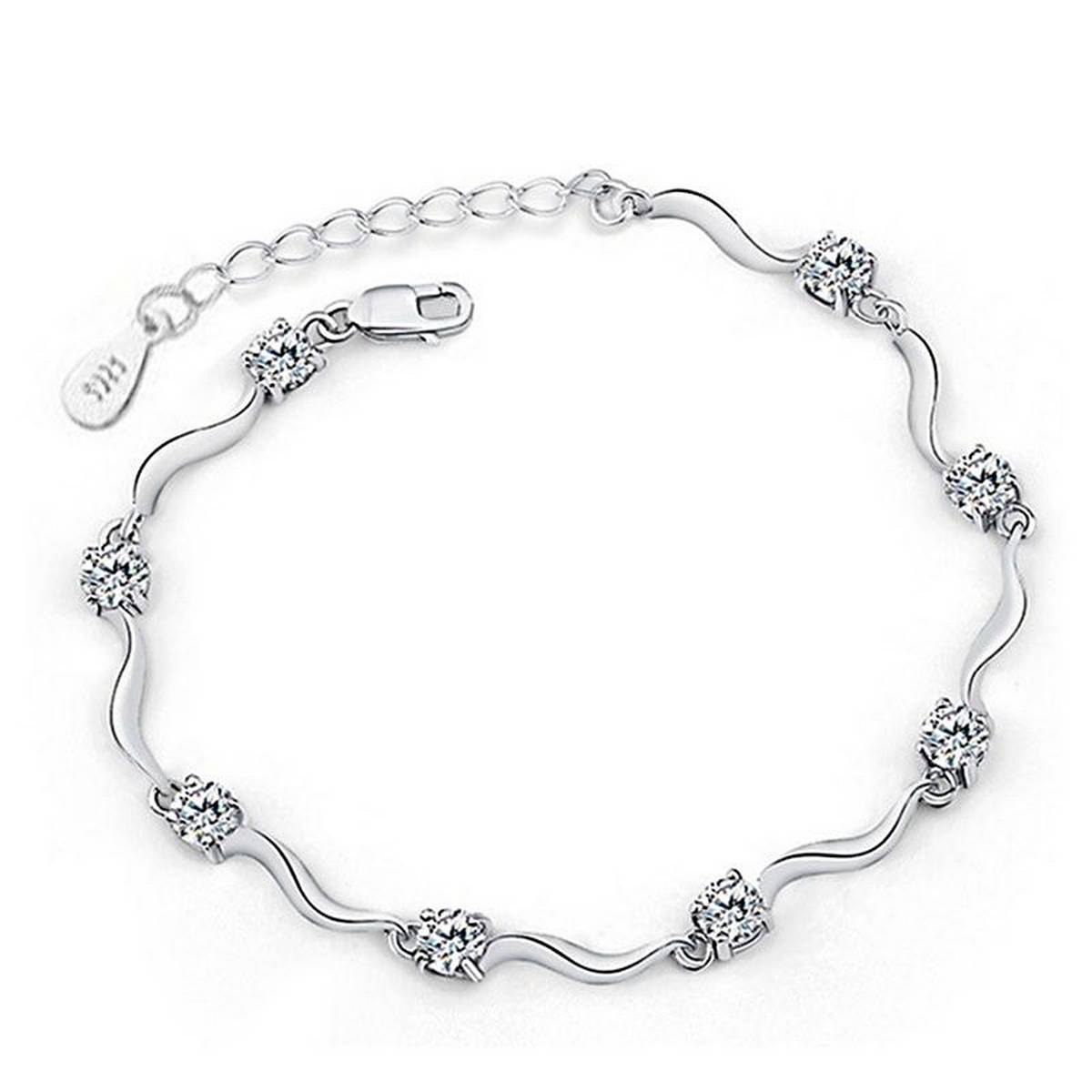 Trendy S925 Stamped High Quality Zircon Crystal Anklet Love Fine Jewelry