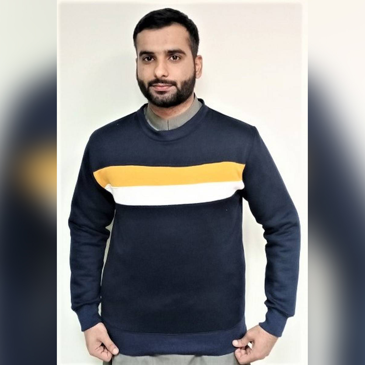 WINTER FLEECE SWEAT SHIRT ( NAVY BLUE WITH WHITE AND MUSTARD STRAPS)