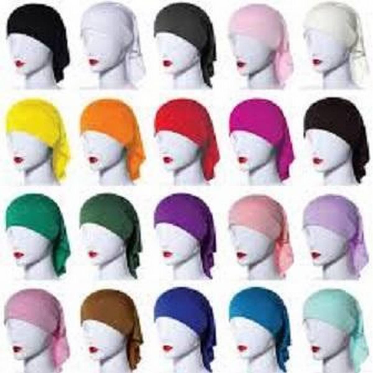 Pack of 9 Plain Muslim Headscarf Inner Hijab Caps Wraps Women Islamic Under Scarf Ninja Scarf Stretch Cotton Bonnet Caps
