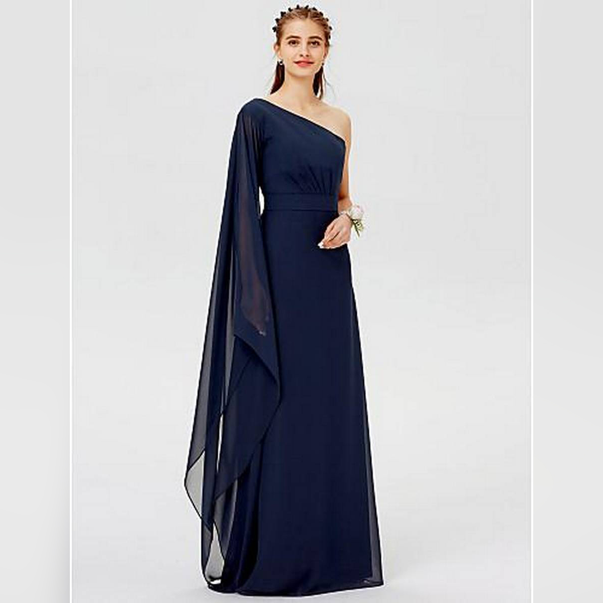 DESIGNER A-Line / Ball Gown One Shoulder Floor Length Chiffon Bridesmaid Dress with Sash / Ribbon / Pleats Party Wear Casual Wear Dress For Women For Girls