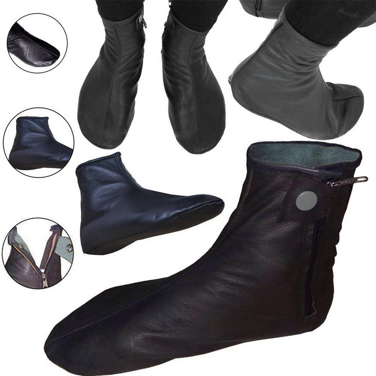 Halal Cow Leather Socks Mozay For Men's Women's Hajj & Umrah Slipper With Zip and Button.