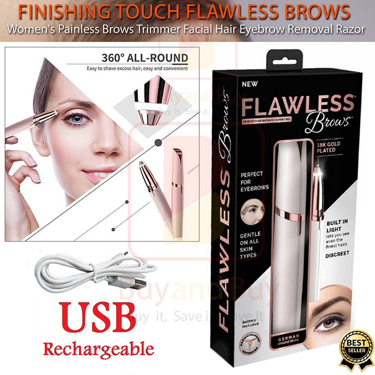 Rechargeable Flawless Eyebrow Hair Remover- Finishing Touch Hair Remover Machine - Original Facial Hair Remover - Rechargeable Eyes Brow And Hair Remover - Electric Trimmer Epilator-Eyebrow Trimmer Pen