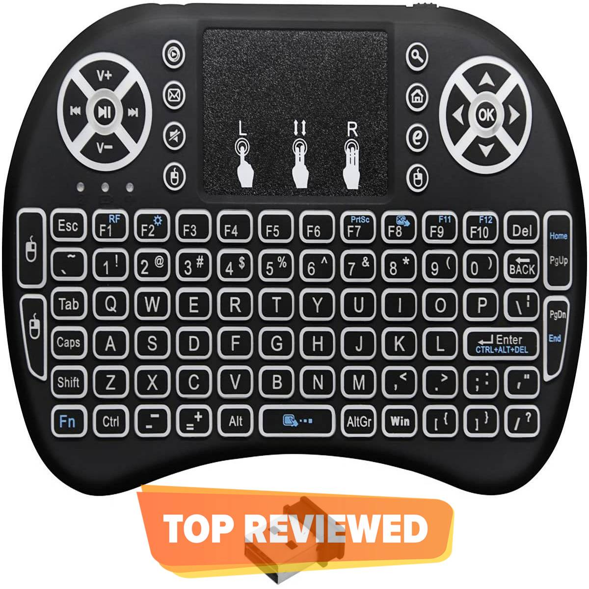 Mini Wireless Backlit Keyboard with Touchpad and Multimedia Keys for Android TV Box Smart TV