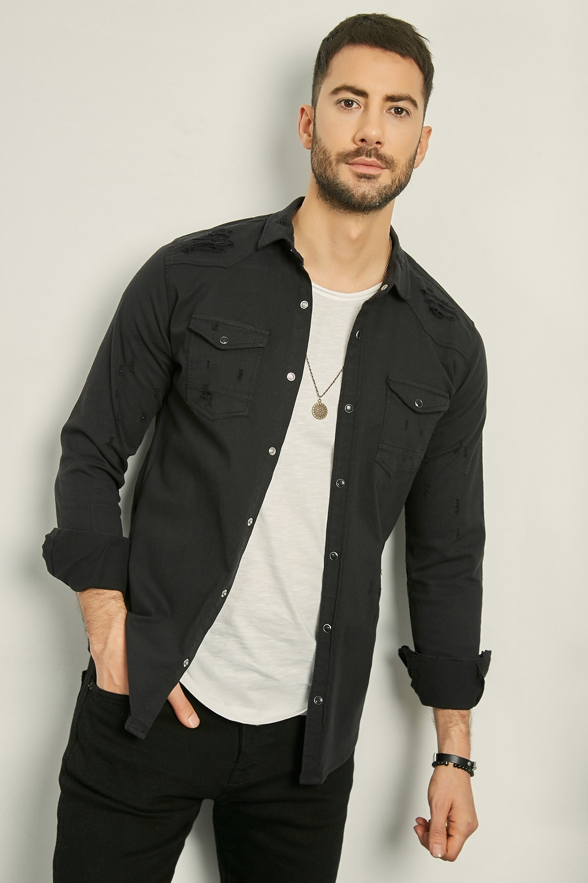 Sateen Men Canvas Shirt