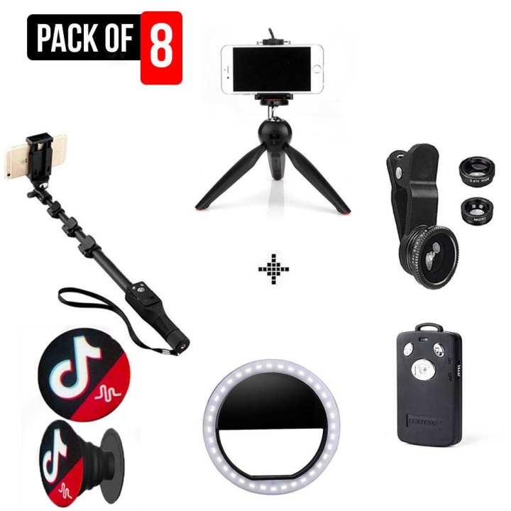 Pack Of 8 Complete Camera Kit Tiktok Vloging Yunteng YT1288 Selfie Stick - Bluetooth remote shutter - Yunteng YT-228 - Mini Tripod - Rechargeable 36 LEDs Selfie Ring Light - 3 In 1 Universal Clip Lens - TikTok  Pop Socket for mobile